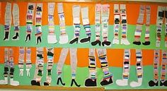 Crazy Legs Textured art lesson -- book: Miss Nelson is Missing which is only the best book ever.