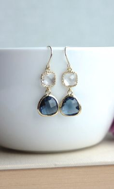 Sapphire Blue, Navy Blue, Gold Plated Glass Pear Drop Dangle Earring. Everyday. Bridesmaids Gift. Bridal Jewelry. Blue and Gold Wedding. By Marolsha.