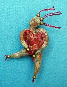 Threadbare Dolls by Heather Gailey Free pattern Jump Start My Heart Valentines Day Doll Pin Fabric Dolls, Fabric Art, Paper Dolls, Fabric Crafts, Tiny Dolls, Ooak Dolls, Art Dolls, Spirited Art, Monster Dolls
