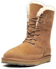 AU&MU AUMU Womens Classic Lace Up Mid Calf Flat Fur Snow Boot Winter Boots Review