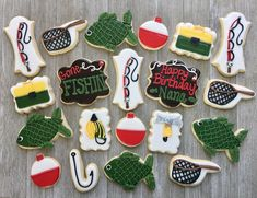 """41 Likes, 8 Comments - Lauren French (@laurenscookieboutique) on Instagram: """"Fishing birthday set for a nana who loves to go fishing!! Cookie inspiration from adorable fishing…"""""""