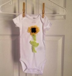 Yellow and Black Chiffon Sunflower Onesie 3 by ILiveToLoveYou, $12.00