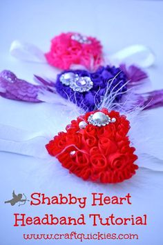 Shabby Heart Headband Tutorial I need to make these for all of the little girls that I love (Caitlin) - and future ones (excited for you Danielle and Janel R. Baby Headband Tutorial, Diy Baby Headbands, Hair Bow Tutorial, Diy Headband, Flower Headbands, Flower Tutorial, Diy Tutorial, Making Hair Bows, Diy Hair Bows