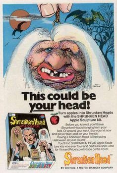 Milton-Bradley Shrunken Head Apple Sculpture Kit, 1970s