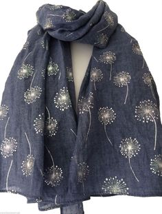 Blue Scarf with Silver Floral Print, Ladies Flower Pattern Wrap Shawl, flowers… Embroidery Scarf, Embroidery Fashion, Grey Scarf, Designer Scarves, Embroidered Clothes, Scarf Design, Floral Scarf, Madame, Shawls And Wraps