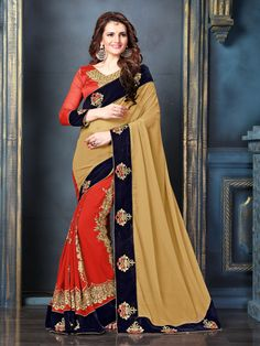 Beige Georgette Embroidered Saree With Blouse