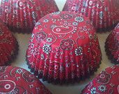 Bandana Western Cupcake Baking Cups Wrappers 50 pieces, great for cowboy / cowgirl birthday party, western theme wedding, country farm