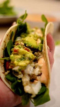 Fish tacos with guacamole.