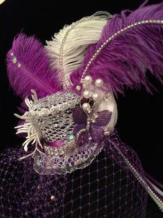 #Purple and White Mini Top Hat. #Burlesque Cabaret #Vintage #Costume #Fascinator  #EmpireMiniTopHats #TopHat