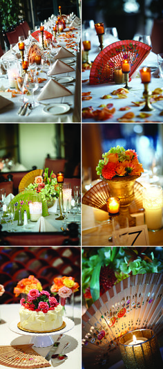 spanish inspired fans as centerpieces with gold accents and candles - Miki and Sonja Photography