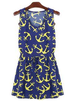 Vestido plisado ancla sin manga-azul EUR€15.03