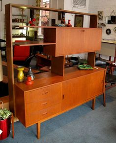 display shelf - Teak wall unit/room divider retro