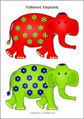 Patterned elephants for sorting (SB11244) - SparkleBox