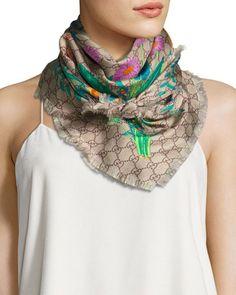 GUCCI Flora Gg Silk Scarf, Multicolor. #gucci #