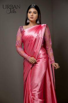 Beautiful Women Over 40, Beautiful Women Pictures, Beautiful Girl Indian, Beautiful Saree, Beautiful Indian Actress, Beautiful Dresses, Silk Satin Dress, Satin Saree, Drape Sarees