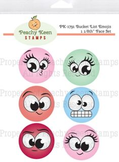 PK-1791 Bucket List Emojis 1 1-8th Inch Face Set - Stamps for Die Cuts and Digital SVG Cut Files