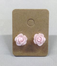 Light Pink Resin Rose Cabochons 10mm Earrings by RatDogInk on Etsy