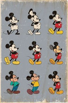 Buy Disney Mickey Mouse Evolution Wall Poster online and save! Disney Mickey Mouse Evolution Maxi Poster One of the cheekiest mice to grace both the small screen and the silver screen, Mickey has continued to app. Disney Pixar, Disney Films, Disney Animation, Mickey Mouse E Amigos, Arte Do Mickey Mouse, Mickey Mouse And Friends, Vintage Mickey Mouse, Mickey Mouse Quotes, Mickey Mouse Cartoon