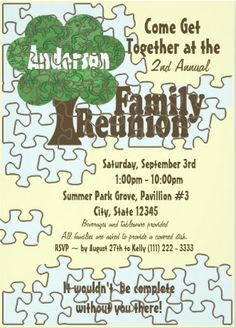 Rustic Picnic Themed Family Reunion Invitations  X Family