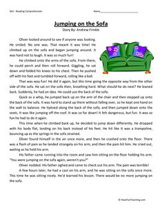 This Reading Comprehension Worksheet - Jumping on the Sofa is for teaching reading comprehension. Use this reading comprehension story to teach reading comprehension. You are in the right place about Reading Comprehension Activities, Phonics Reading, Teaching Reading, Learning, English Reading, English Writing Skills, English Stories For Kids, Teaching English Grammar, Third Grade Reading