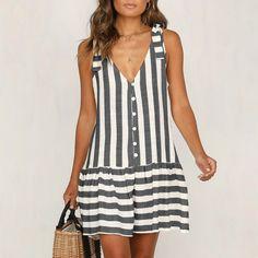 Womens Staped Bohemian Dress Spaghetti Strap Button Down Swing Mini Dress - Swing Dresses - Ideas of Swing Dresses Simple Dresses, Casual Dresses, Fashion Dresses, Summer Dresses, Dresses Dresses, Ball Dresses, Elegant Dresses, Dresses Online, Formal Dresses