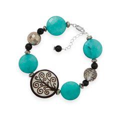 ".925 Sterling Silver 7"" + 1"" Multistone Tree Of Life Bead Bracelet"