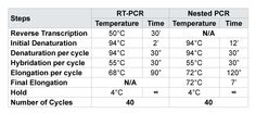 "N/ANot Applicable for this amplification; 30' = 30 minutes; 30"" = 30 seconds  Table 1: Reverse Transcriptase and Nested PCR Cycles (Temperature per cycle)"