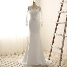 Trumpet / Mermaid Wedding Dress Court Train V-neck Chiffon / Lace with Lace / Sash / Ribbon / Sequin / Appliques / Beading – GBP £ 114.79