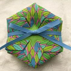 Folded Fabric Coaster Set--Blue & Green Beachy print by TurtleFishCreations on Etsy