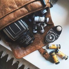 Did you know that even our smallest bag, the Bowery, can fit a medium format Hasselblad, along with extra film and a trusty light meter?  Here's @evanaoliver's kit! // #InMyONA