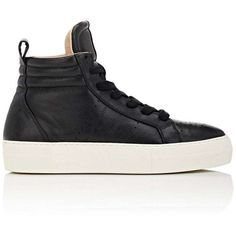 Helmut Lang Women's Leather Platform High-Top Sneakers (945 BRL) ❤ liked on Polyvore featuring shoes, sneakers, black, leather high top sneakers, leather high tops, black hi tops, black sneakers and platform sneakers