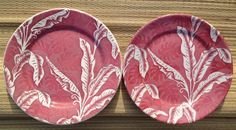 "Wallace China ""Shadowleaf"" and TEPCO ""Palm"" Red pattern lunch plates.  Perfect together; their color palate was identical."