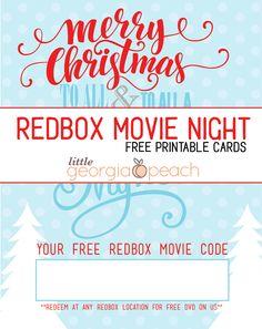 redbox code chalk snowflake winter movie night gift tag last minute gift teacher neighbor print redbox gift tag pinterest - Redbox Christmas Movies