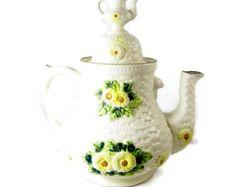 Vintage Cookie Jar Teapot Lefton Rustic Daisy