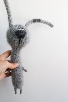 cute knitted plushie toy hare, can make from repurposed mohair sweaters