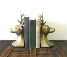 SALE 20 OFF vintage midcentury brass deer bookends  by compostthis, $70.40
