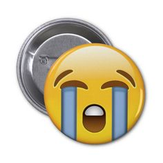 Loudly Crying Face Emoji Pinback Buttons