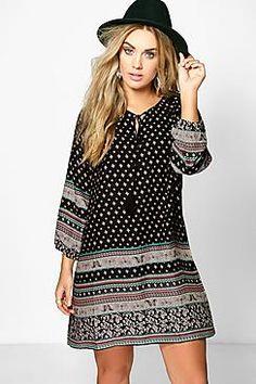 Plus Megan Mixed Paisley Print Shift Dress