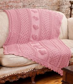 Aran Hearts Throw ~ Free Crochet Pattern