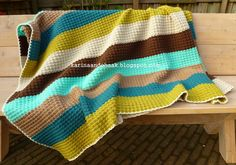Crochet Retro Blanket by Karin aan de haak Diy Crochet Afghan, Diy Crochet And Knitting, Crochet Cushions, Manta Crochet, Crochet Home, Crochet Braids, Crochet For Kids, Crochet Stitches, Crochet Patterns