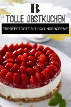 Obstkuchen: Unsere besten Rezepte. Erdbeertorte darf in der Erdbeersaison nicht fehlen – aber wir frischen den Klassiker mit neuen Ideen auf. Die Erdbeeren werden kombiniert mit knusprigen Bröselboden und einer zarten Creme aus Frischkäse. Außerdem hat die Torte ein süßes Geheimnis: Holunderblütensirup sorgt für den feinen Geschmack. Zum Rezept: Erdbeertorte mit Holundercreme.