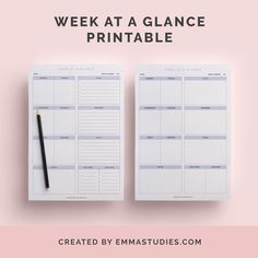 Week at a glance weekly schedule free printable for download from emmastudies - the studyblr blog