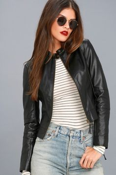 Always stay wild at heart in the Don't Hold Back Black Vegan Leather Moto Jacket! Sleek vegan leather shapes this unique moto jacket with snap collar. Vegan Leather, Black Leather, Suede Moto Jacket, It Goes On, Trendy Clothes For Women, Blazer, Vegan Friendly, Outfits, Women's Fashion