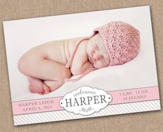 BABY Announcement BIRTH Announcement - Baby Girl - PRINTABLE - Photo Baby Announcement. $14.00, via Etsy.