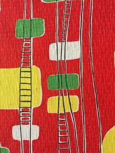 1940/50s FRENCH VINTAGE COTTON BARKCLOTH FABRIC MID-CENTURY MODERN/ATOMIC DESIGN