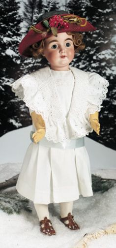 "31"" German Bisque Child, 164, by Kestner~~~MARKS: N made in Germany 17 164 (head) Excelsior Germany (body). COMMENTS: Kestner, circa 1900. VALUE POINTS: Pretty child has original signed body, body finish, beautiful antique costume, choice bisque."