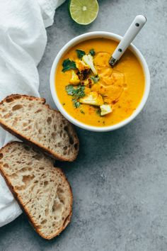 Roasted Cauliflower Soup with Coconut and tumeric