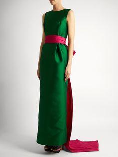 OSCAR DE LA RENTA  Bi-colour satin column gown