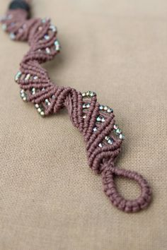 Hemp Macrame Bracelet with Iridescent by PerpetualSunshine111, $22.00