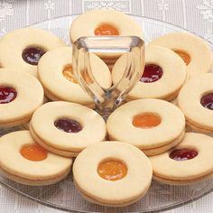 Fruit Filled Cookies  Hand assembled, these are assorted strawberry, peach, raspberry and apricot. Soft and so special!
